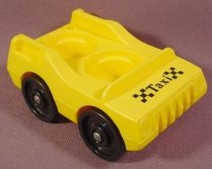 Fisher Price Vintage Yellow 2 Seat Taxi Car, 933 Play Family Jetport, Little People