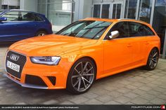 On Location: Papaya Orange Audi RS 4 at Audi Forum Ingolstadt Audi Rs4 B8, Audi S4, Audi Cars, Performance Cars, Station Wagon, Cute Photos, Hot Cars, Volkswagen, Cars Motorcycles