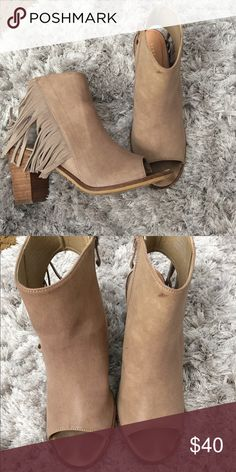 Tan fringe booties 3 1/2 inch fringe booties. Worn a couple of times Shoes Ankle Boots & Booties
