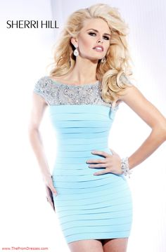 Sherri Hill 2933 - Light Blue Fitted Homecoming Dresses Online