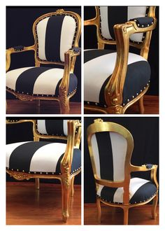 For Sale Chairs And Tables Victorian Sofa, Victorian Furniture, Reupholster Furniture, Upholstered Furniture, Home Decor Furniture, Furniture Makeover, Striped Furniture, Black Dining Chairs, Dining Table