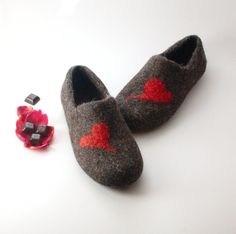 Felted Wool Clogs Red Heart - handmade wool house shoes - eco-friendly slippers - felted slippers - valentines day gift - gift for him by Woolenclogs, $60.00 USD