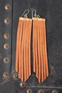 truth be told - long leather earrings - saddle tan fringe suede  by heidi roland  http://heidiroland.bigcartel.com/product/truth-be-told-long-leather-earrings-saddle-tan-fringe-suede