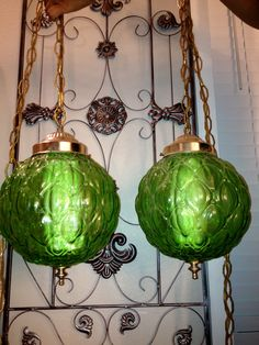 Vintage Retro Green glass swag hanging lamp lights. $95.00, via Etsy.