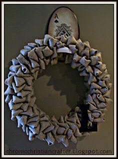 Burlap Bubble Wreath tutorial seen @Chronic Christian Crafter