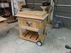 Wooden Deck Boxes - Ideas on Foter Deck Cooler, Wood Cooler, Cooler Stand, Outdoor Cooler, Cooler Box, Wooden Ice Chest, Kreg Jig Projects, Wooden Decks, Pallet Crafts