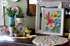 My 1929 Charmer | Daffodil And Pansy Spring Vignette | http://my1929charmer.com