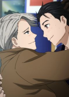 That's it I'm done *gets up and leaves* Cute Anime Pics, Anime Love, Anime Guys, Manga Anime, Anime Couples, Cute Couples, Manhwa, Yurio And Otabek, Viktor Nikiforov
