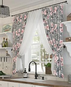Luxury Curtains, Home Curtains, Window Curtains, Kitchen Window Valances, Kitchen Curtains, Rideaux Design, Diy Blinds, Bedroom Bed Design, Kitchen Cabinets Decor