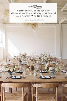 May 2020 - Earth Tones, Textures and Minimalism Created Magic at One of LA's Newest Wedding Spaces Space Wedding, Mod Wedding, Wedding Events, Garden Wedding, Fall Wedding, Wedding Decor, Wedding Stuff, Earth Tone Colors, Earth Tones