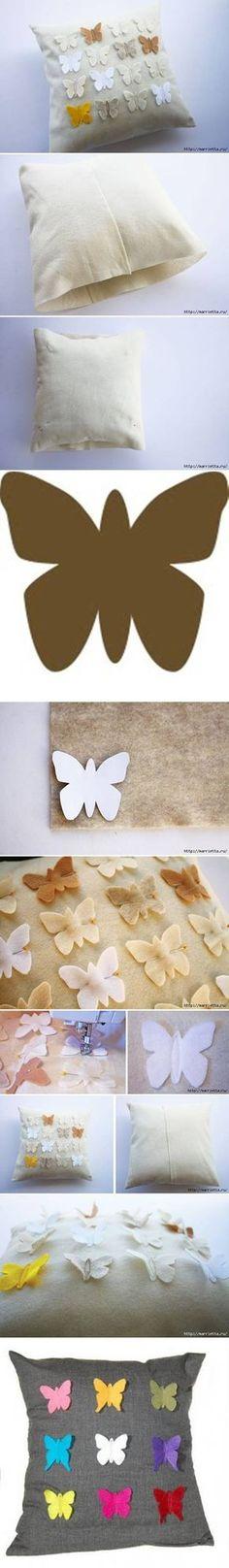 DIY de la mariposa de almohada cubierta proyectos de bricolaje