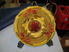 "Vintage 12 1/2"" Flower GOLD gilded Plate mid century"