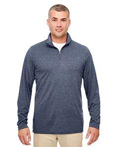 UltraClub 8618 - Men's Cool Dry Heathered Performance Quarter-Zip  #ultraclub #activewear