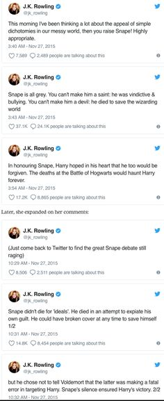 To disperse all hate and praise comments about Snape, JK Rowling herself even states that he is a bit of both. He wasn't a good person because of the things he's done leading up to his death, nor was he bad because of the sacrafice he made. Everyone is entitled to their own opinion but maybe everyone should just forgive like Harry did by naming his son after him. If anyone's still confused read the article please and thank you.
