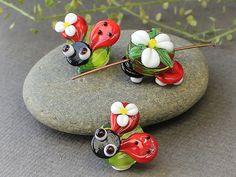 Handmade Lampwork Glass Animated Ladybug by JewelryBeadsByKatie