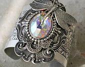 METAMORPHOSIS Victorian fantasy art nouveau filigree butterfly cuff bracelet with Swarovski focal, free gift pouch. $62.00, via Etsy.