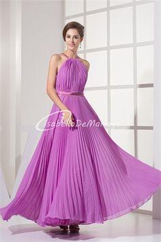 La meilleure robe demoiselle d´honneur charmant en Mousseline de soie A-ligne Plein longueur