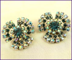 Vintage Aurora Borealis & Montana Blue Crystal Rhinestone Curved Clip-On Earrings  by MarlosMarvelousFinds $25.00