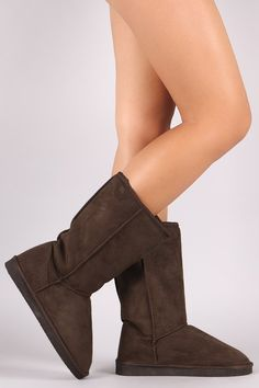 These cozy mid-calf boots feature a round toe, faux shearling shaft lining, flat heel, and cushioned insole. Pull-on construction. Material: Vegan Suede (man-made) Sole: Treaded EVA Flat Boots, Mid Calf Boots, Flats, Heels, Collection, Construction, Vegan, Fashion, Loafers & Slip Ons