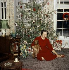 Vintage Photograph Lady in crimson red dress sitting in front of her beautiful tree.