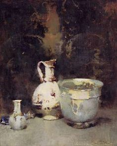 """Roman Bowl,"" Emil Carlsen, ca. oil on canvas, Art Gallery of Ontario. Background used to enhance the mood. Still Life Drawing, Painting Still Life, Still Life Art, Painting Art, Impressionist Paintings, Landscape Paintings, Art Gallery Of Ontario, Classical Realism, American Impressionism"