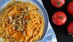 Krem dyniowo-pomidorowy Spaghetti, Ethnic Recipes, Food, Essen, Meals, Yemek, Noodle, Eten