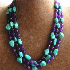 Mode élégante 3 rangées facettes ronde violet calcédoine irrégulière calaite perles collier romantique femmes bijoux 17-19 pouce BV359