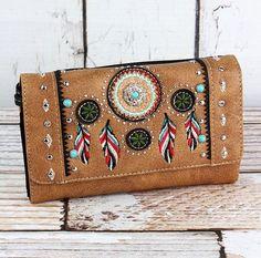 weekend purse with feather motif pink boho zipper wallet Dream catcher fabric purse Indian print zipper pouch