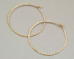 Hammered Gold Hoop Earrings 14kt Filled By Beljouxdesigns On Etsy 30 00 Thin