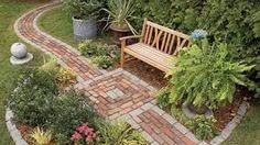 Build a Brick Pathway in the Garden - Garden Pathway Brick Pathway, Stone Walkways, Rock Walkway, Flagstone Walkway, Paver Walkway, Driveways, Prayer Garden, Front Yard Design, Backyard Seating