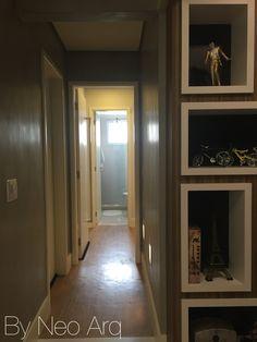 Corredor dormitórios com iluminação baliza