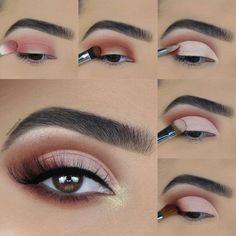 Red Dress Makeup, Pink Eye Makeup, Eye Makeup Art, Pink Eyeshadow, Eyeshadow Looks, Beauty Makeup, Hair Makeup, Eyeshadow Step By Step, Makeup Step By Step