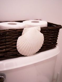 beach bathroom- add shell to current basket in bathroom