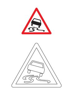 Slippery road traffic sign coloring page Transportation Crafts, Road Transport, Coloring Pages, Preschool, Signs, Traffic Sign, Construction, Printables, Socialism