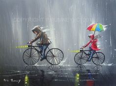PETE RUMNEY FINE ART BUY ORIGINAL ACRYLIC PAINTING RAINY DAY BIKE RIDE UMBRELLA in Art, Direct from the Artist, Paintings | eBay