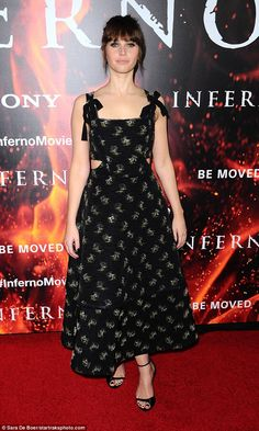 Beauty:Felicity Jones looked sensational as she graced the red carpet on Tuesday evening for the Los Angeles premiere of Inferno at the DGA Theatre