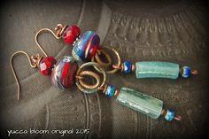 Roman Glass Earrings Blue Lampwork Glass Czech Glass by YuccaBloom