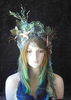 Magical Whimsycal Fantasy Fairy Mermaid Queen Princess Sea Nymph headdress headpiece crown costume tiara Just in case. Nymph Costume, Sea Costume, Costume Carnaval, Water Fairy Costume, Mermaid Crown, Mermaid Headpiece, Dark Mermaid, Mermaid Fairy, Sea Queen