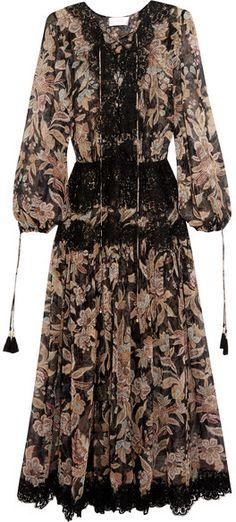 Zimmermann - Good Times Lace-paneled Printed Silk-georgette Dress - Black