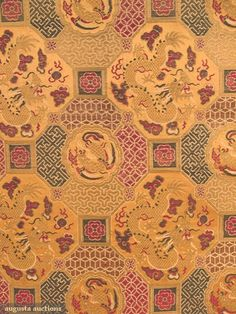 "8 YARDS IMPERIAL SILK BROCADE, CHINA, c. 1860    Apricot silk satin ground woven in metallic threads & colored silks in patterns of dragons in medallions, 28"" wide, never used, excellent."