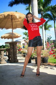 Kate Spade red sweater and leather shorts.  Stylishlyinlove.blogspot.com