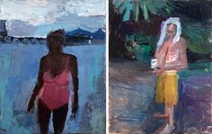 Janice Nowinski, Pink Bathing Suit, and Man drinking in the Woods, 2016 City Gallery, Figure Painting, Figurative, Bathing, Woods, Drinking, Suit, Paintings, Artists