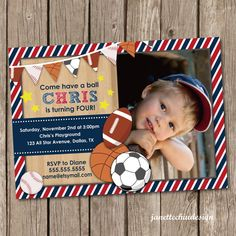 Sports Banner Birthday Party Photo Invitation by JanetteChiuDesign, $15.00