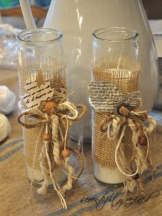 You can make candle holder just like these with candles from the Dollar Tree/Store, hot glue burlap pieces around the candle. Hot glue or mod podge some torn pieces of paper, your choice whether Christmas wrapping paper, music notes or magazine pages with your favorite colors. Then tie rope, rafia, or ribbon and glue wooden buttons or beads. Let your imagination run!