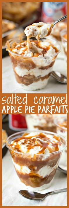 Salted Caramel Apple Pie Parfaits – A super simple treat to make for all your summer parties that is sure to impress! Simply layer Marie Callender's® Dutch Apple Pie, Reddi–wip®, and salted caramel sa (Apple Recipes Easy)