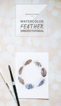 Learn to make a watercolor feather wreath in this detailed tutorial post - Zakkiya Hamza | Inkstruck Studio