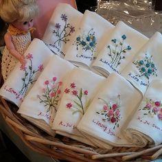 Embroidery stitch needlework handkerchief