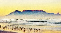 Table Mountain at sunrise stock image. Image of soft - 119648877 Table Mountain, Mountain Paintings, Sunrise, Image, Art, Art Background, Kunst, Performing Arts, Sunrises