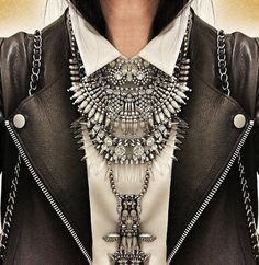 This is fabulous! It looks complete with the large statement necklace and the leather jacket!
