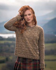 Textured sweater without shaping knitting pattern. ArranmoreMirehouse pattern by Fiona Alice knit in The Fibre Co. Arranmore
